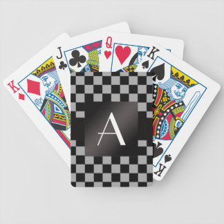 Monogram gray and black checkers bicycle card deck