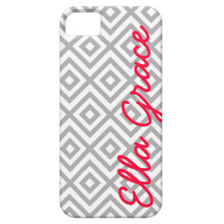 Monogram Gray and Cherry Chevron with Your Name iPhone SE/5/5s Case