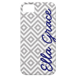 Monogram Gray and Navy Chevron with Your Name iPhone SE/5/5s Case