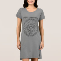 Monogram Gray and Pink Modern Medallion Pattern Dress
