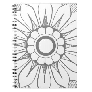 Monogram Gray and Pink Modern Medallion Pattern Notebook