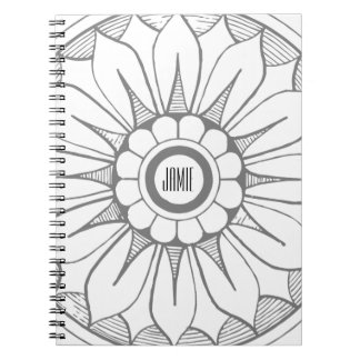 Monogram Gray and Pink Modern Medallion Pattern Spiral Note Books