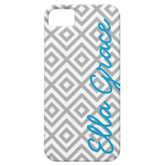 Monogram Gray and Turquoise Chevron with Your Name iPhone SE/5/5s Case