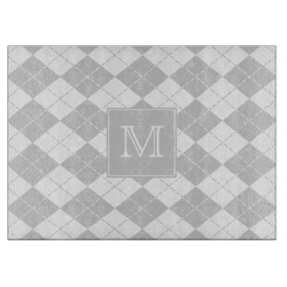 Monogram Gray and White Argyle Cutting Board