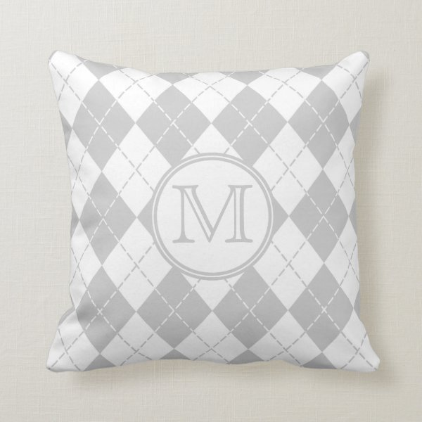 Monogram Gray and White Argyle Throw Pillow