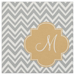 Monogram Gray and White Chevron Pattern with Gold Fabric
