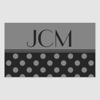 Monogram Gray/Black Polka Dot Rectangular Stickers