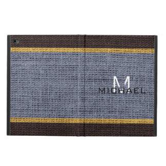 Monogram Gray Burlap Linen Rustic Jute Powis iPad Air 2 Case