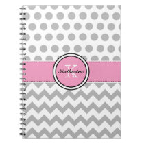 Monogram Gray Chevron and Pink Spiral Notebook