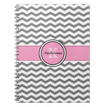 Monogram Gray Chevron and Pink Spiral Notebook