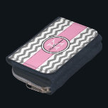 """Monogram Gray Chevron and Pink Wallet<br><div class=""""desc"""">Trendy monogram gray and white chevron zigzag stripes and a pink accent ribbon stitched border with a round pink accent frame outlined in black and white for your initial and name. Show your personality with this fun and trendy chevron stripe wallet. Perfect for on the go. Makes a great gift...</div>"""