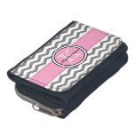 Monogram Gray Chevron and Pink Wallet<br><div class='desc'>Trendy monogram gray and white chevron zigzag stripes and a pink accent ribbon stitched border with a round pink accent frame outlined in black and white for your initial and name. Show your personality with this fun and trendy chevron stripe wallet. Perfect for on the go. Makes a great gift...</div>