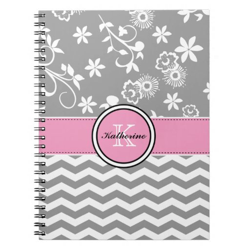 Monogram Gray Chevron Floral Pink Spiral Notebook