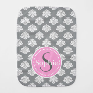 Monogram Gray Damask Burp Cloth Personalize