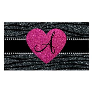 Monogram Gray glitter zebra stripes pink heart Business Card Template