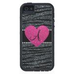 Monogram Gray glitter zebra stripes pink heart iPhone 5 Covers