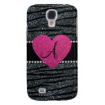 Monogram Gray glitter zebra stripes pink heart Samsung Galaxy S4 Cases