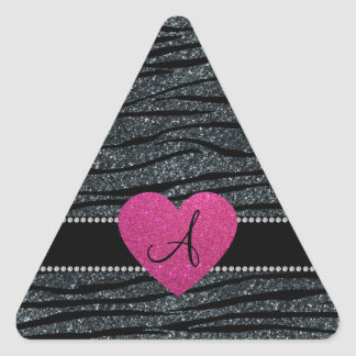 Monogram Gray glitter zebra stripes pink heart Sticker