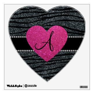 Monogram Gray glitter zebra stripes pink heart Wall Sticker