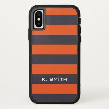 Beach Themed Monogram. Gray-ish  and Orange-y Stripes. iPhone X Case