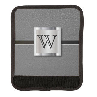 Monogram Gray Leather and Silver Handle Wrap