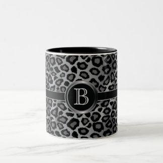 Monogram Gray Leopard Animal Print Two-Tone Coffee Mug