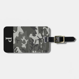 Monogram Gray Military Camo Camouflage Black Frame Tag For Luggage