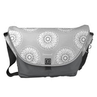 Monogram Gray Modern Medallion Pattern Courier Bag