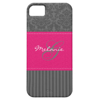 Monogram Gray Pink Damask Stripe iPhone 5 Case