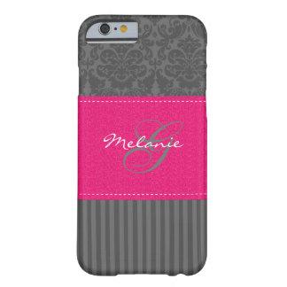 Monogram Gray Pink Damask Stripe iPhone 6 case