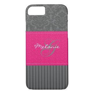 Monogram Gray Pink Damask Stripe iPhone 7 Case