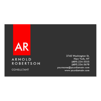 Monogram Gray Red Modern Consultant Business Card Pack Of Standard Business Cards