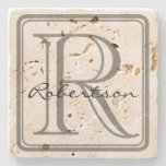 Monogram Gray Square Coaster at Zazzle