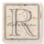 Monogram Gray Square Coaster<br><div class='desc'>A simple yet classy design with a rounded gray monogram square and room for an initial and last name.  If the last name is shorter or longer than example,  use customize it to adjust the font size.  Original design by Night Owl&#39;s Menagerie,  2015.</div>