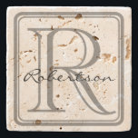 """Monogram Gray Square Coaster<br><div class=""""desc"""">A simple yet classy design with a rounded gray monogram square and room for an initial and last name.  If the last name is shorter or longer than example,  use customize it to adjust the font size.  Original design by Night Owl's Menagerie,  2015.</div>"""