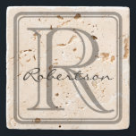 "Monogram Gray Square Coaster<br><div class=""desc"">A simple yet classy design with a rounded gray monogram square and room for an initial and last name.  If the last name is shorter or longer than example,  use customize it to adjust the font size.  Original design by Night Owl's Menagerie,  2015.</div>"