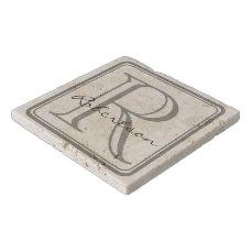 Monogram Gray Square Trivet