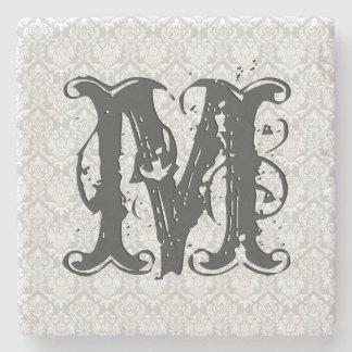 Monogram Gray Tones Vintage Floral Pattern Stone Coaster