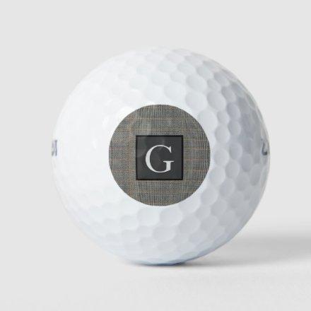 Monogram Gray Tweed Groomsman Bestman Wedding Gift Golf Balls