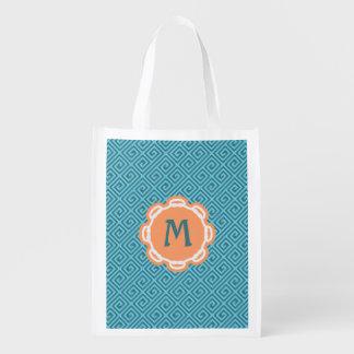 Monogram Greek Key Grocery Reusable Bag