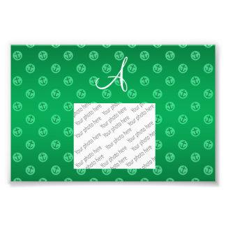 Monogram green anchors polka dots art photo