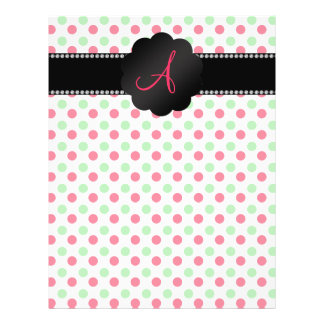 """Monogram green and red polka dots 8.5"""" x 11"""" flyer"""