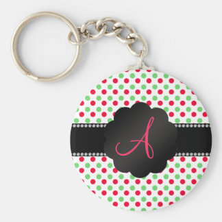 Monogram green and red polka dots keychain