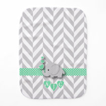Monogram Green And White Chevron Baby Elephant Baby Burp Cloth