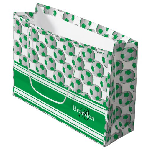 Monogram Green and White Soccer Balls Large Gift Bag