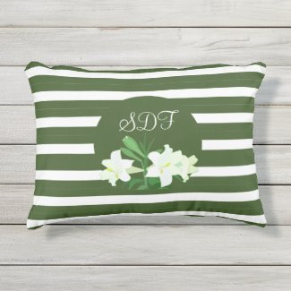Monogram Green and White Striped Outdoor Pillow