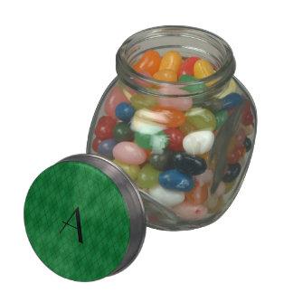 Monogram green argyle jelly belly candy jars