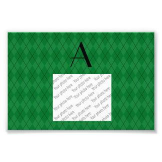 Monogram green argyle photo print