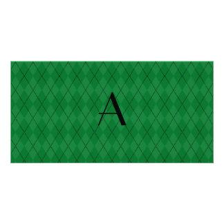 Monogram green argyle photo card