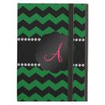 Monogram green black chevrons iPad cases